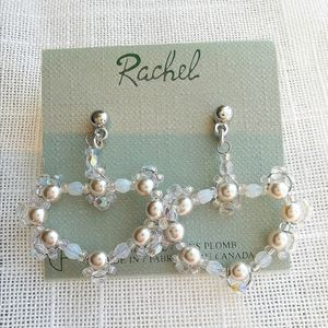 NWT heart earrings in pearl and crystal